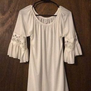 Off Shoulder White Tunic Dress
